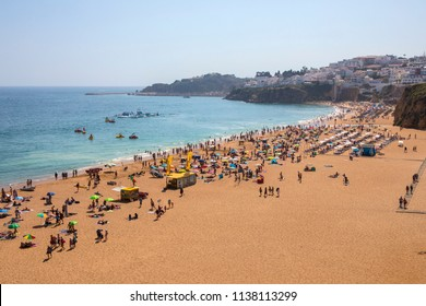 ALBUFEIRA, PORTUGAL - JULY 13TH 2018: View of Peneco Beach in Albufeira, Portugal, on 13th July 2018.