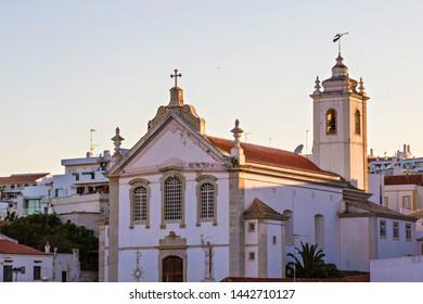ALBUFEIRA, PORTUGAL - July 2019: Albufeira's Igreja Matriz (Mother Church), Beautiful Old Town church in Albufeira, Algarve, Portugal