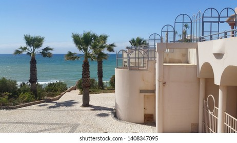 ALBUFEIRA, PORTUGAL - JULY 4, 2017: Fancy resort in Albufeira, travel concept, summer holiday, vacation time