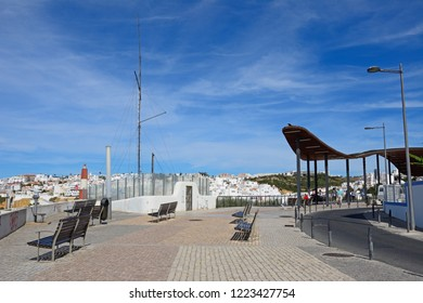 ALBUFEIRA, PORTUGAL - JUNE 10, 2017 - Benches on the Pau de Bandeira viewpoint with views across the town, Albufeira, Algarve, Portugal, Europe, June 10, 2017.