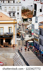 ALBUFEIRA, PORTUGAL - JUNE 10, 2017 - Elevated view of R. Sao Concalo de Lagos in the old town, Albufeira, Algarve, Portugal, Europe, June 10, 2017.