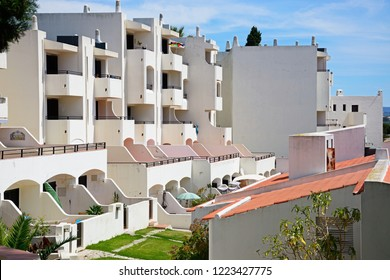 ALBUFEIRA, PORTUGAL - JUNE 10, 2017 - Tourist holiday apartments with balconies, Albufeira, Algarve, Portugal, Europe, June 10, 2017.