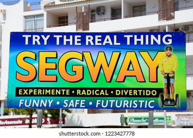 ALBUFEIRA, PORTUGAL - JUNE 10, 2017 - Segway sign in the old town, Albufeira, Algarve, Portugal, Europe, June 10, 2017.