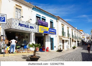 ALBUFEIRA, PORTUGAL - JUNE 10, 2017 - Shops and along the Rua 5 Outubro in the old town, Albufeira, Algarve, Portugal, Europe, June 10, 2017.