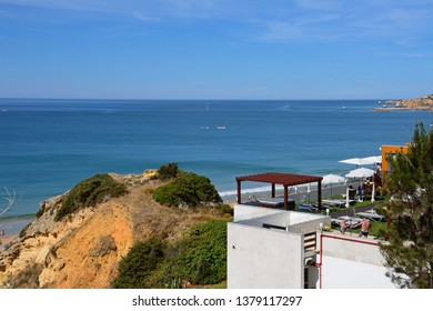 ALBUFEIRA, PORTUGAL - JUNE 10, 2017 - Rooftop terrace overlooking the beach and sea, Albufeira, Portugal, Europe, June 10, 2017.
