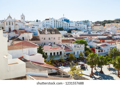 Albufeira, Portugal - May 2012: View of roof tops and main square, Albufeira, Portugal
