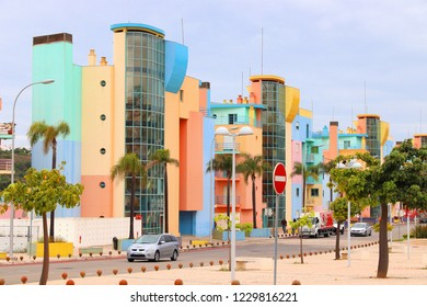 ALBUFEIRA, PORTUGAL - MAY 30, 2018: Colorful architecture by the marina of Albufeira, Portugal. The town is a popular tourism destination and has significant expat population.