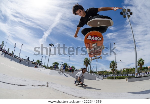 ALBUFEIRA, PORTUGAL - OCTOBER 5, 2014: Diogo Carmona during the 3rd Stage DC Skate Challenge by Fuel TV.