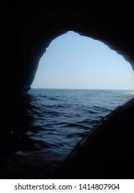 Albufeira/Portugal - September 2, 2017: dark cave in Benagil, algarve Portugal