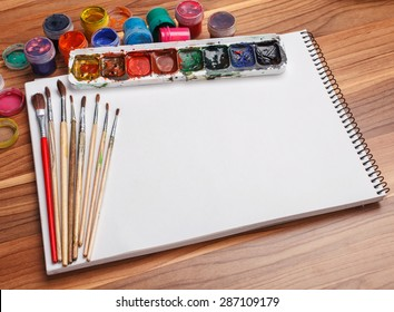 Albums for drawing with water colour paints and brushes