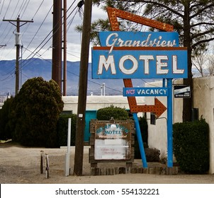 Albuquerque - New Mexico January 11, 2017: The old Grandview Motel is located along Route 66 in Albuquerque, New Mexico. The sign reminds us of a time that no longer exists.