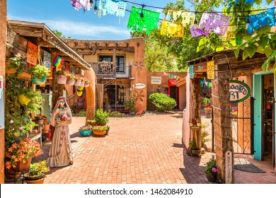 ALBUQUERQUE, NEW MEXICO - JUNE 29, 2019: Old Town shops and restaurants in historic Albuquerque.