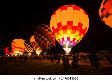 ALBUQUERQUE, NEW MEXICO - OCTOBER 1, 2016: Hot Air Balloon Festival in Albuquerque. The morning launch before sunrise it is called Dawn Patrol.
