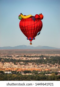 ALBUQUERQUE, NEW MEXICO - OCTOBER 12, 2006: Hot air balloon flying over Albuqueruqe at the Albuquerque International Balloon Fiesta.
