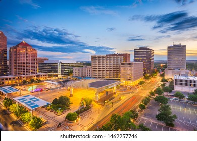 Albuquerque, New Mexico, USA downtown cityscape at twilight.