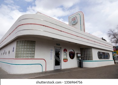 Albuquerque, New Mexico, USA, February 17, 2019 - Googie or Doo-Wop style 66 Diner on route 66