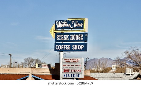 Albuquerque - New Mexico USA, January 11, 2017:  The Western View Steak House  and Coffee Shop is on historic Route 66 in Albuquerque New Mexico. It has been feeding Albuquerque since 1941.