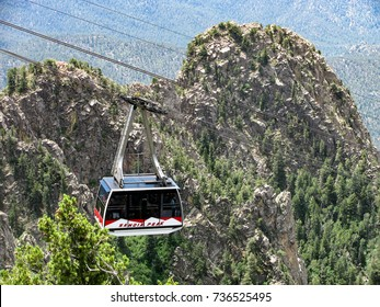 Albuquerque, New Mexico USA - July 8, 2016: Sandia Peak tramway is the longest aerial tram in the United States, high above the city. Pictured, one of the new gondola cars installed in May, 2016.