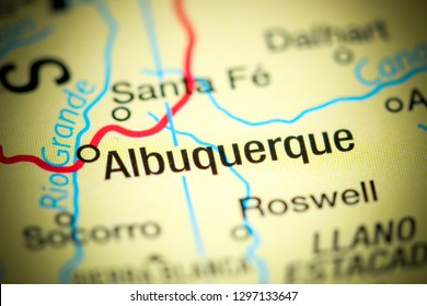 Albuquerque, New Mexico. USA on a map