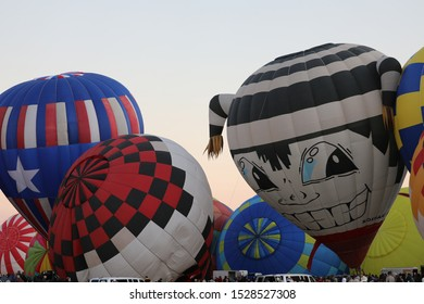 Albuquerque, New Mexico/ USA-October 6, 2019: Hot Air Balloons inflating for the Albuquerque International Balloon Fiesta