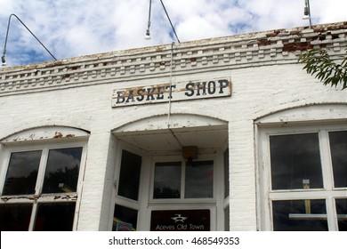 Albuquerque, New Mexico/USA â?? August 2, 2016: Low angle view of Aceves Basket Shop in historical Florencio Zamora building, Old Town Albuquerque.