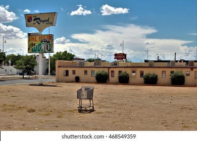 Albuquerque, New Mexico/USA â?? July 25, 2016: Shopping cart on site of the Royal Hotel along old Route 66 (Central Ave.) in Albuquerque.