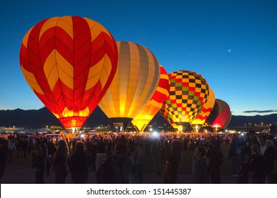 ALBUQUERQUE, NM - OCTOBER 10: A group of hot air balloons soar at Albuquerque International Hot Air Balloon Fiesta October 10, 2012 in Albuquerque, NM.