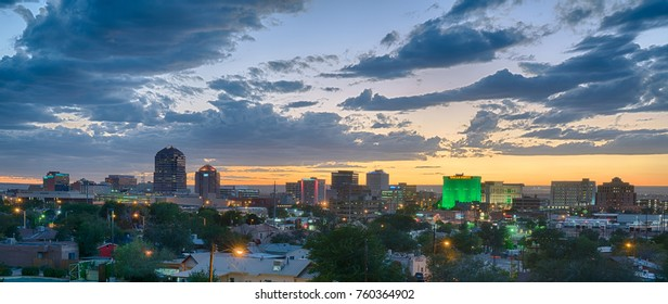 ALBUQUERQUE, NM - OCTOBER 12: Albuquerque, New Mexico Skyline at sunset on October 12, 2017