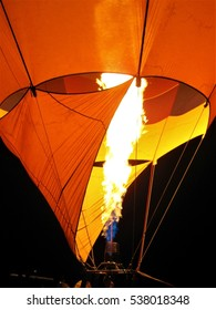 Albuquerque, NM, USA - December 24, 2010: Close up of burner flame during balloon glow at night.