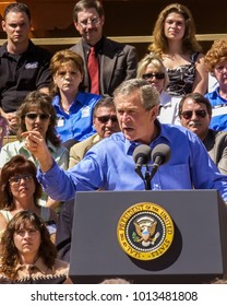Albuquerque, NM USA March 26, 2004 President Bush greets visitors, supporters and protestors after speaking  on home ownership in Albuquerque, NM.