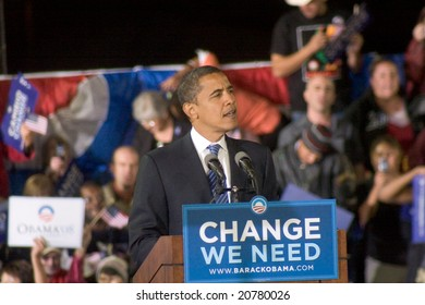 ALBUQUERQUE – OCT 25: US Presidential candidate, Barack Obama, speaks at a rally at the University of New Mexico on October 25, 2008 in Albuquerque.