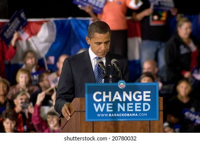 ALBUQUERQUE – OCT 25: US Presidential candidate, Barack Obama, pauses while speaking at a rally at the University of New Mexico on October 25, 2008 in Albuquerque.