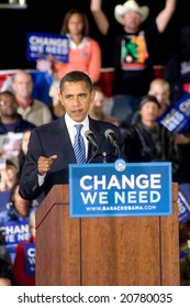 ALBUQUERQUE – OCT 25: US Presidential candidate, Barack Obama, gestures while speaking at a rally at the University of New Mexico on October 25, 2008 in Albuquerque.