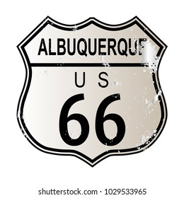 Albuquerque Route 66 traffic sign over a white background and the legend ROUTE US 66
