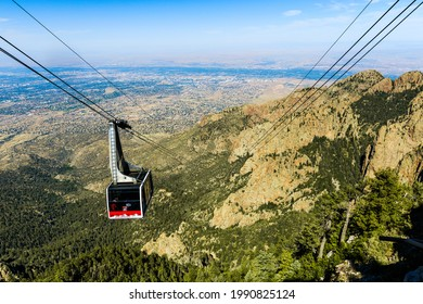 ALBUQUERQUE, UNITED STATES - Jul 12, 2019: Aerial tramway at the Sandia-Manzano Mountains with a view of Albuquerque, New Mexico