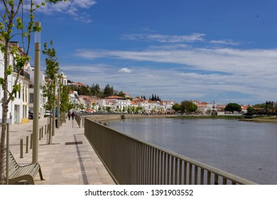 Alcacer do Sal/Portugal - April 13 2019: The waterfront at the Alentejo market town of Alcacer do Sal, Portugal. Perfect place for a relaxing break while on holiday in Portugal