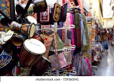 Alcaiceria Market in Granada, Spain. Narrow streets filled with shops called Alcaiceria, originally home to a Moorish silk market