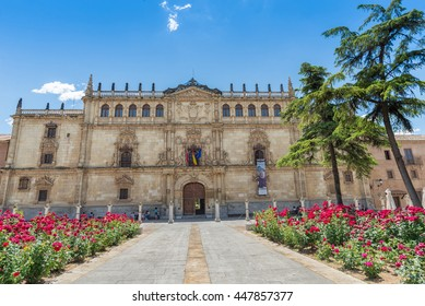 Alcala de Henares, Spain - June 13, 2016:  University of Alcala facade a UNESCO world heritage site and one of the longest standing European universities which dates back to 1293 .