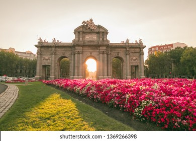 The Alcala Door (Puerta de Alcala). It was the entrance of the people coming from France, Aragon, and Catalunia. Landmark of Madrid, Spain