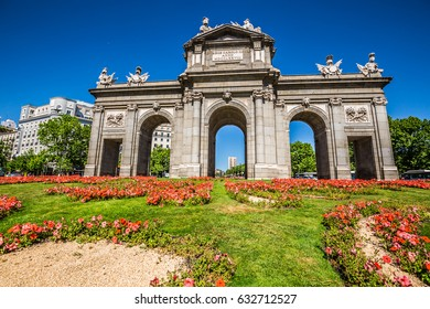 Alcala Gate (Puerta de Alcala) - Monument in the Independence Square in Madrid, Spain