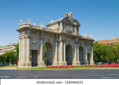 Alcala Gate (Spanish: Puerta de Alcala) of Madrid, Spain - the first modern post-Roman triumphal arch built in Europe in 1778.