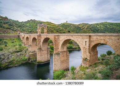 The Alcantara Bridge also known as Trajan Bridge at Alcantara is a Roman bridge at Alcantara, in Extremadura, Spain. Slow shutter speed shot.