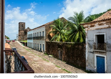 Alcantara, Sao Luis, Maranhao State, Brazil - July 11, 2016: Matriz Church ruins in the historic city of Alcantara near Sao Luis