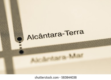 Alcantara-Terra Station. Lisbon Metro map.