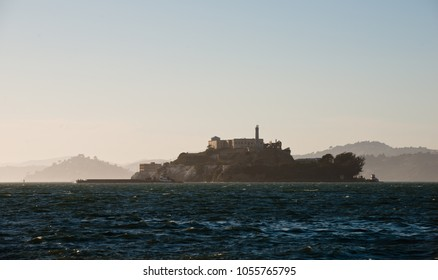 Alcatraz island during sunset hours, San Francisco, USA