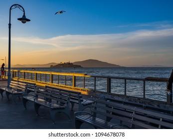 Alcatraz at sunset from San Francisco Fisherman's Wharf