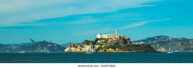 Alcatraze island in San Francisco with blue sky