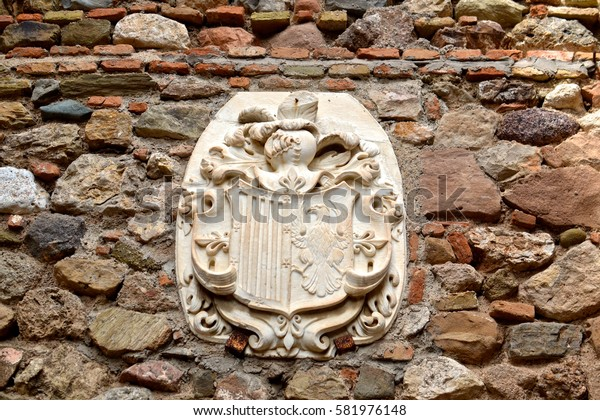 Alcazaba castle logo, architectural detail. Malaga, Spain. November 7, 2015