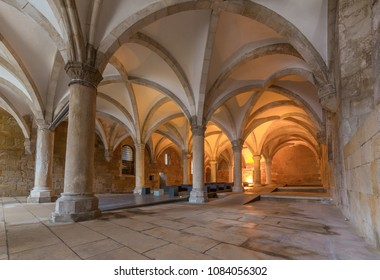 ALCOBACA, PORTUGAL - FEBRUARY 25, 2017: hall of monks in Alcobaca Monastery, a Catholic church located in the town of Alcobaca, in Portugal