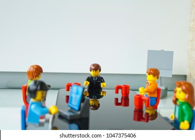 Alcobendas, Madrid, Spain. March 9, 2018. Business meeting, focus on the boss. Lego minifigures are manufactured by The Lego Group.